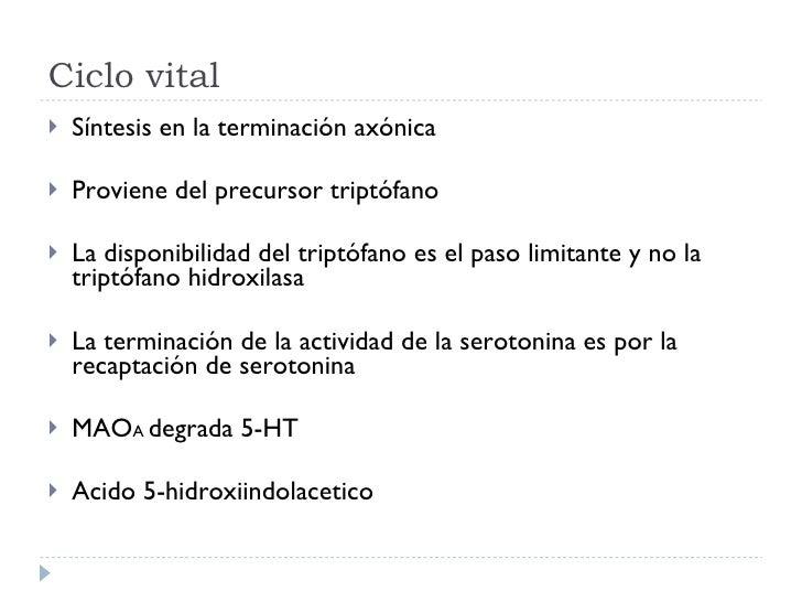 Ciclo vital <ul><li>Síntesis en la terminación axónica </li></ul><ul><li>Proviene del precursor triptófano </li></ul><ul><...