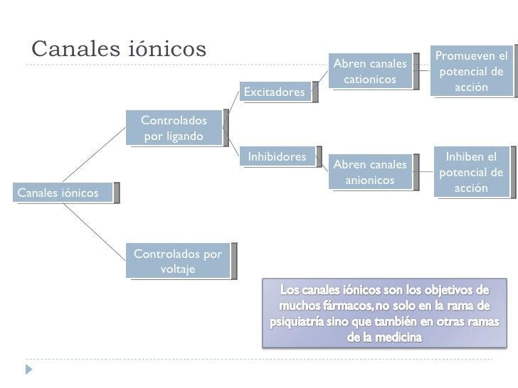 Canales iónicos Canales iónicos Controlados por voltaje Controlados por ligando Abren canales cationicos Inhibidores Excit...
