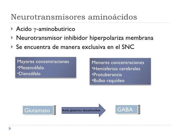 Neurotransmisores aminoácidos <ul><li>Acido  γ - aminobutirico </li></ul><ul><li>Neurotransmisor inhibidor hiperpolariza m...
