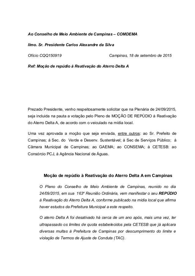 Ao Conselho de Meio Ambiente de Campinas – COMDEMA Ilmo. Sr. Presidente Carlos Alexandre da Silva Ofício CQQ150919 Campina...
