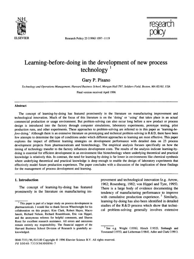 research policyELSEVIER ResearchPolicy25 (1996) 1097-1119 Learning-before-doing in the development of new process technolo...
