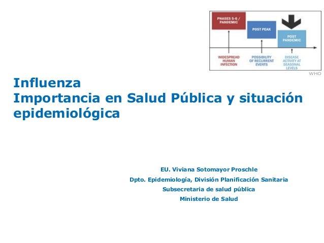 InfluenzaImportancia en Salud Pública y situaciónepidemiológicaEU. Viviana Sotomayor ProschleDpto. Epidemiología, División...