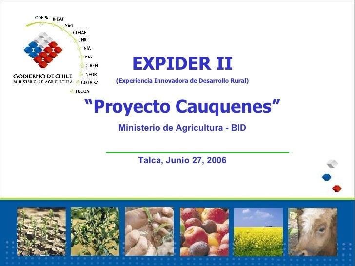 """EXPIDER II (Experiencia Innovadora de Desarrollo Rural) """" Proyecto Cauquenes"""" Ministerio de Agricultura - BID Talca, Junio..."""