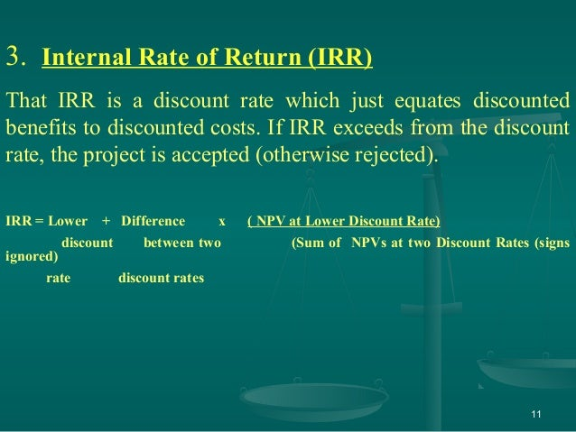 compare and contrast internal rate return irr and net pres Accounting rate of return divides the average profit by the initial investment in order to get the ratio or return that can be expected this allows an investor or business owner to easily compare the profit potential budgets as a part of the net present value and internal rate.