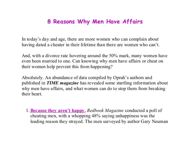 why do married men have affairs