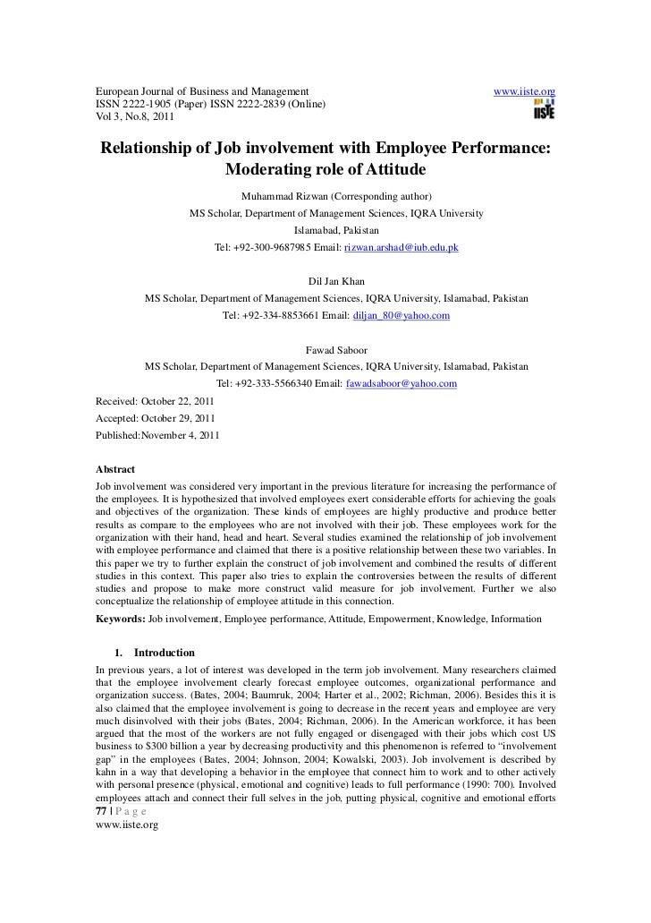 employee engagement and job involvement relationship