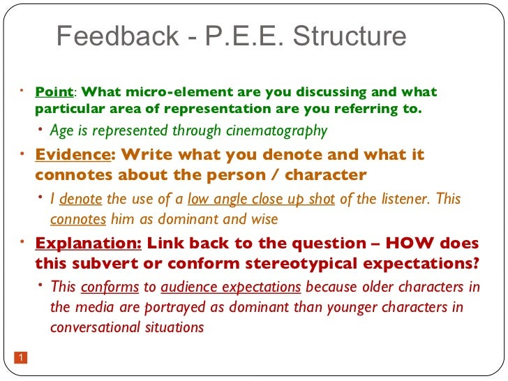 Feedback - P.E.E. Structure <ul><li>Point :  What micro-element are you discussing and what particular area of representat...