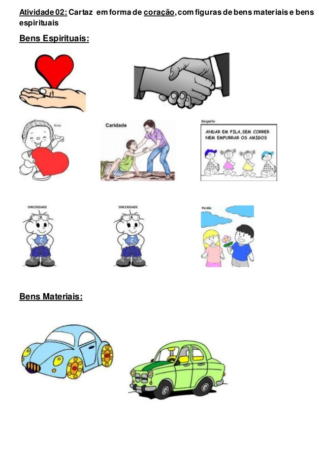 Atividade 02: Cartaz em forma de coração,com figuras de bens materiais e bens espirituais Bens Espirituais: Bens Materiais: