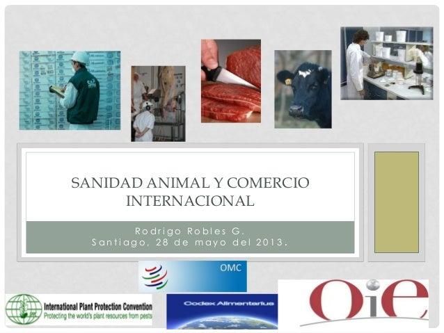 SANIDAD ANIMAL Y COMERCIO INTERNACIONAL Rodrigo Robles G. Santiago, 28 de mayo del 2013.