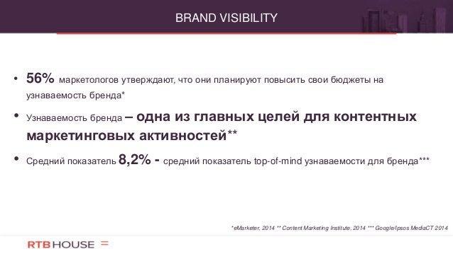• 56% маркетологов утверждают, что они планируют повысить свои бюджеты на узнаваемость бренда* • Узнаваемость бренда – одн...
