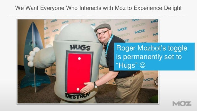 """We Want Everyone Who Interacts with Moz to Experience Delight  Roger Mozbot's toggle is permanently set to """"Hugs"""" """