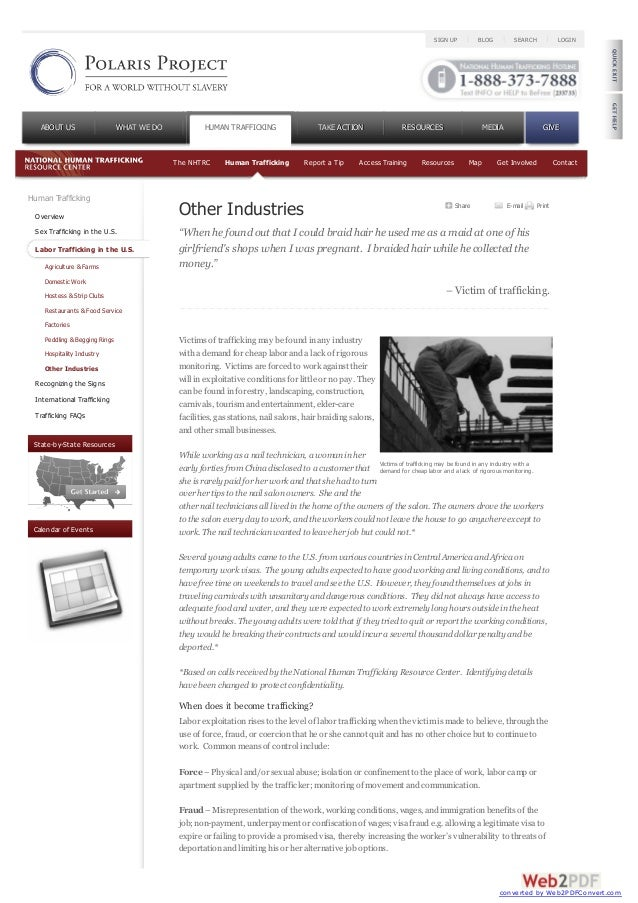 Human TraffickingOverviewSex Trafficking in the U.S.Labor Trafficking in the U.S.Agriculture & FarmsDomestic WorkHostess &...