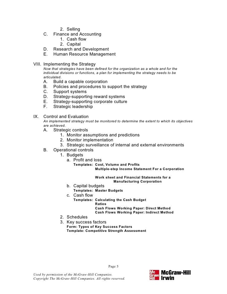 strategic plan outline template