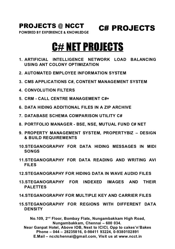 PROJECTS @ NCCT                         C# PROJECTS POWERED BY EXPERIENCE & KNOWLEDGE                    C# NET PROJECTS 1...