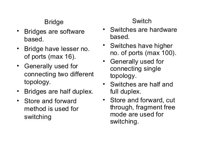 difference between switch and bridge pdf