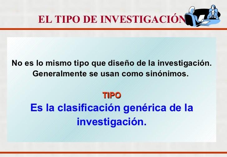 No es lo mismo tipo que diseño de la investigación. Generalmente se usan como sinónimos.  TIPO Es la clasificación genéric...