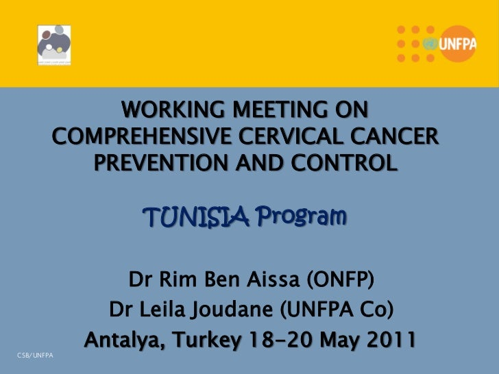 WORKING MEETING ON        COMPREHENSIVE CERVICAL CANCER          PREVENTION AND CONTROL                 TUNISIA Program   ...