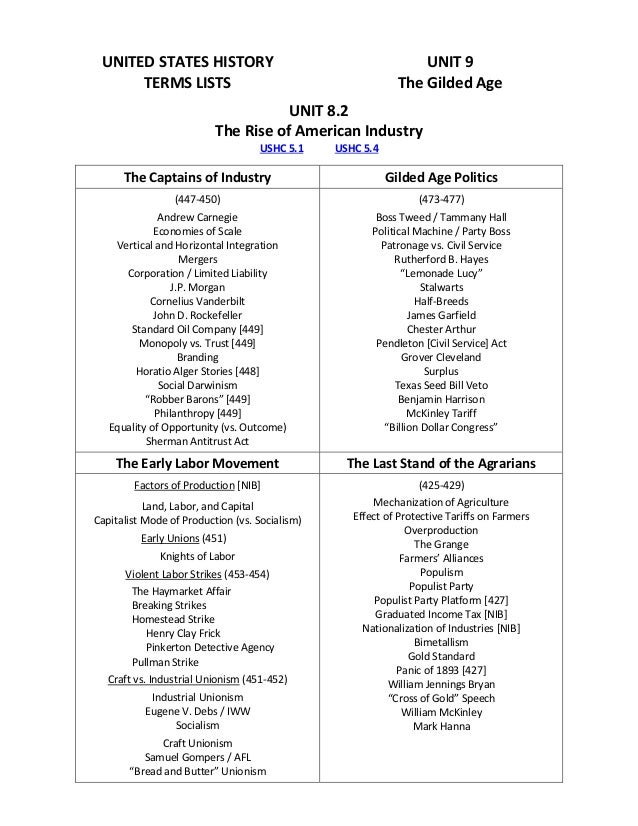 us history gilded age History sparknotes table of contents overview summary of events summary & analysis gilded age politics: 1877-1892 industrialization: 1869-1901 the labor movement: 1866-1894 gilded age society: 1870-1900 the west: 1860-1900 the rise and great american novels ranked from.