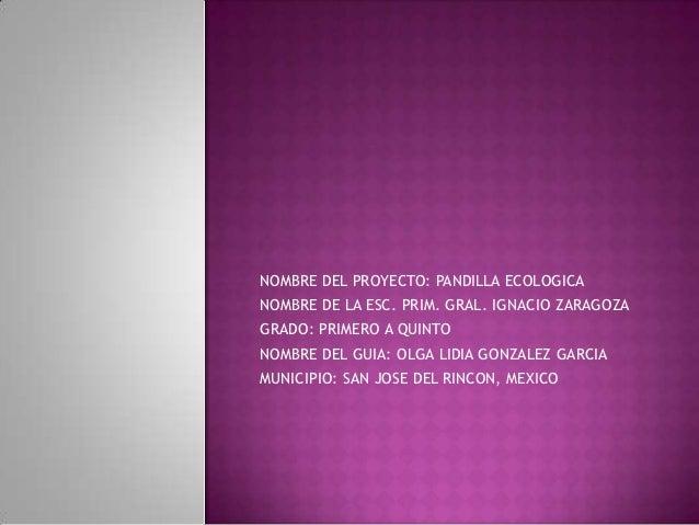 NOMBRE DEL PROYECTO: PANDILLA ECOLOGICANOMBRE DE LA ESC. PRIM. GRAL. IGNACIO ZARAGOZAGRADO: PRIMERO A QUINTONOMBRE DEL GUI...