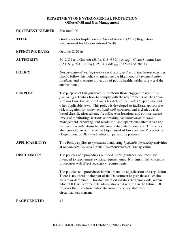 PA DEP Guidelines for Implementing Area of Review (AOR