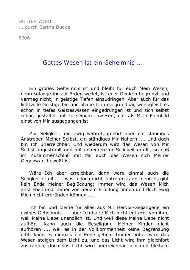 GOTTES WORT ... durch Bertha Dudde 8006 Gottes Wesen ist ein Geheimnis .... Ein großes Geheimnis ist und bleibt für euch M...