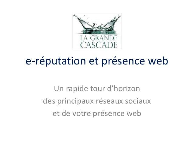 e-réputation et présence web Un rapide tour d'horizon des principaux réseaux sociaux et de votre présence web