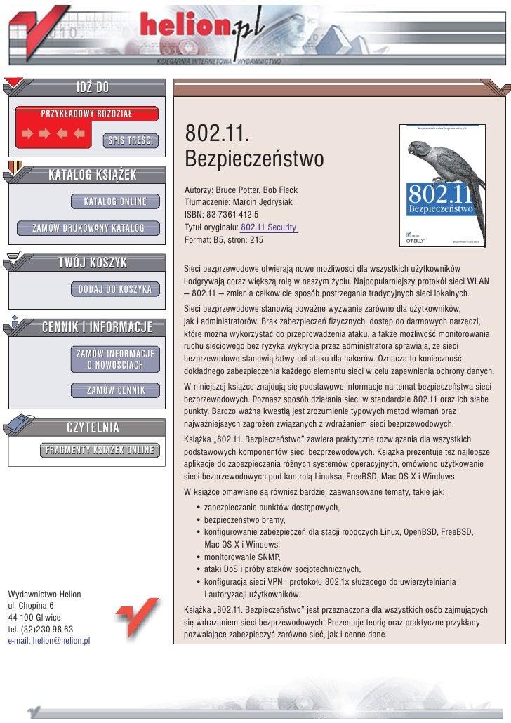 IDZ DO          PRZYK£ADOWY ROZDZIA£                             SPIS TRE CI   802.11.                                    ...