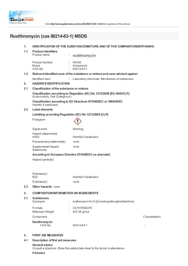Click http://www.guidechem.com/cas-802/80214-83-1.html for suppliers of this productRoxithromycin (cas 80214-83-1) MSDS   ...