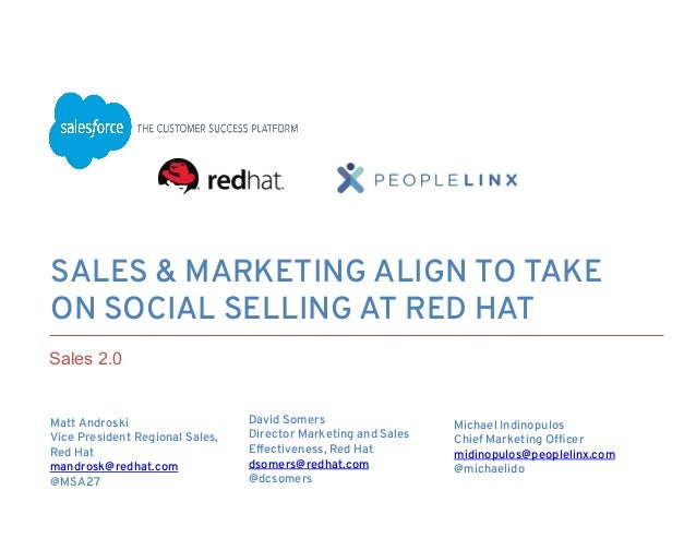 SALES & MARKETING ALIGN TO TAKE ON SOCIAL SELLING AT RED HAT Matt Androski Vice President Regional Sales, Red Hat ma...