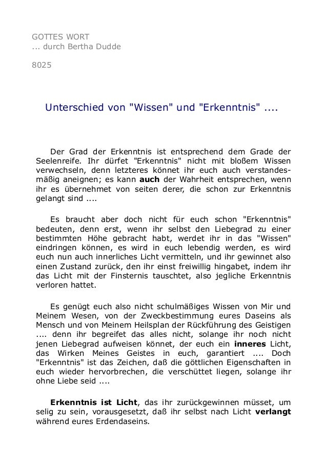 """GOTTES WORT ... durch Bertha Dudde 8025 Unterschied von """"Wissen"""" und """"Erkenntnis"""" .... Der Grad der Erkenntnis ist entspre..."""