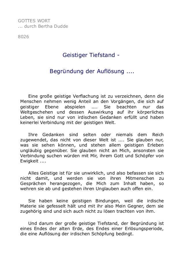 GOTTES WORT ... durch Bertha Dudde 8026 Geistiger Tiefstand - Begründung der Auflösung .... Eine große geistige Verflachun...