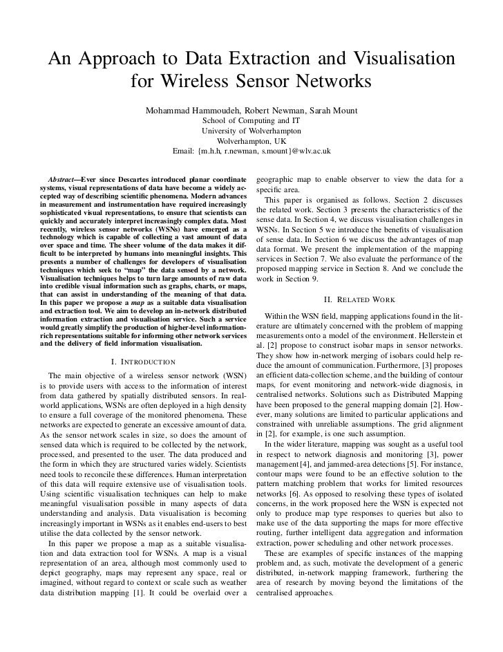An Approach to Data Extraction and Visualisation          for Wireless Sensor Networks                                  Mo...