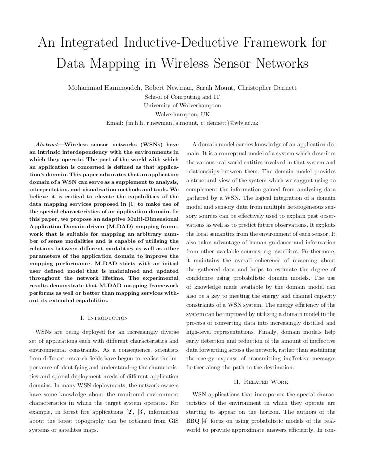 An Integrated Inductive-Deductive Framework for     Data Mapping in Wireless Sensor Networks               Mohammad Hammou...