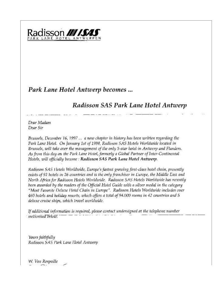 Letter Re Take Over Park Lane Hotel Radisson Sas