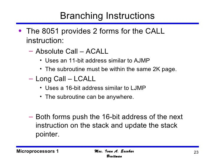 8051 Instruction Set