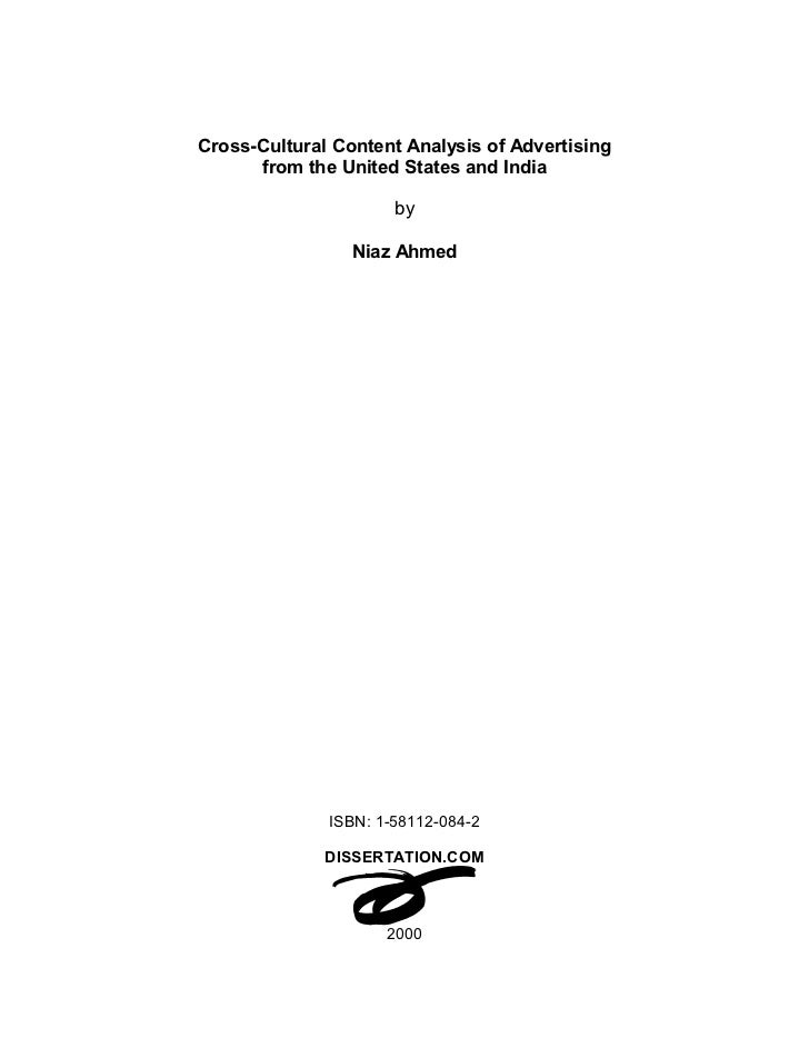 Cross-Cultural Content Analysis of Advertising      from the United States and India                      by              ...