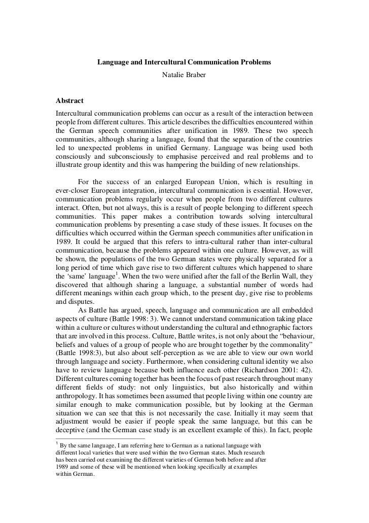 Language and Intercultural Communication Problems                                           Natalie BraberAbstractIntercul...