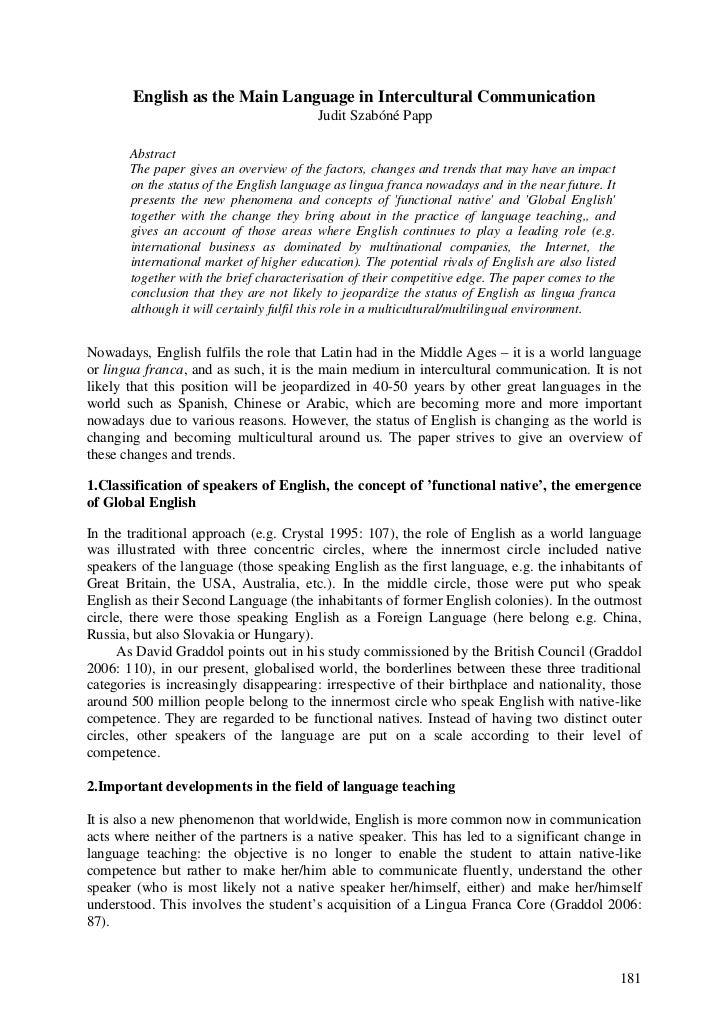 English as the Main Language in Intercultural Communication                                         Judit Szabóné Papp    ...