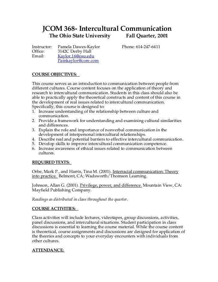 JCOM 368- Intercultural Communication         The Ohio State University                    Fall Quarter, 2001Instructor:  ...