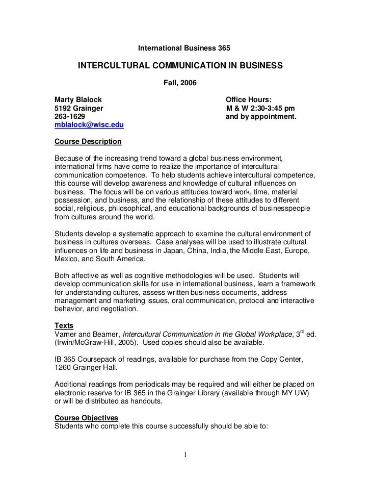 International Business 365       INTERCULTURAL COMMUNICATION IN BUSINESS                                  Fall, 2006Marty ...