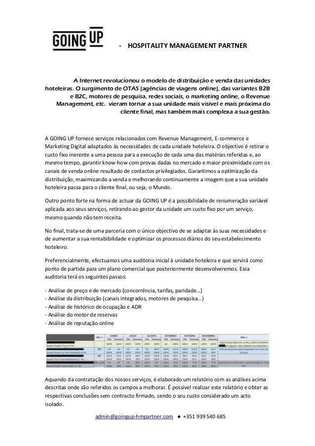 admin@goingup-hmpartner.com ● +351 939 540 685 - HOSPITALITY MANAGEMENT PARTNER A Internet revolucionou o modelo de distri...