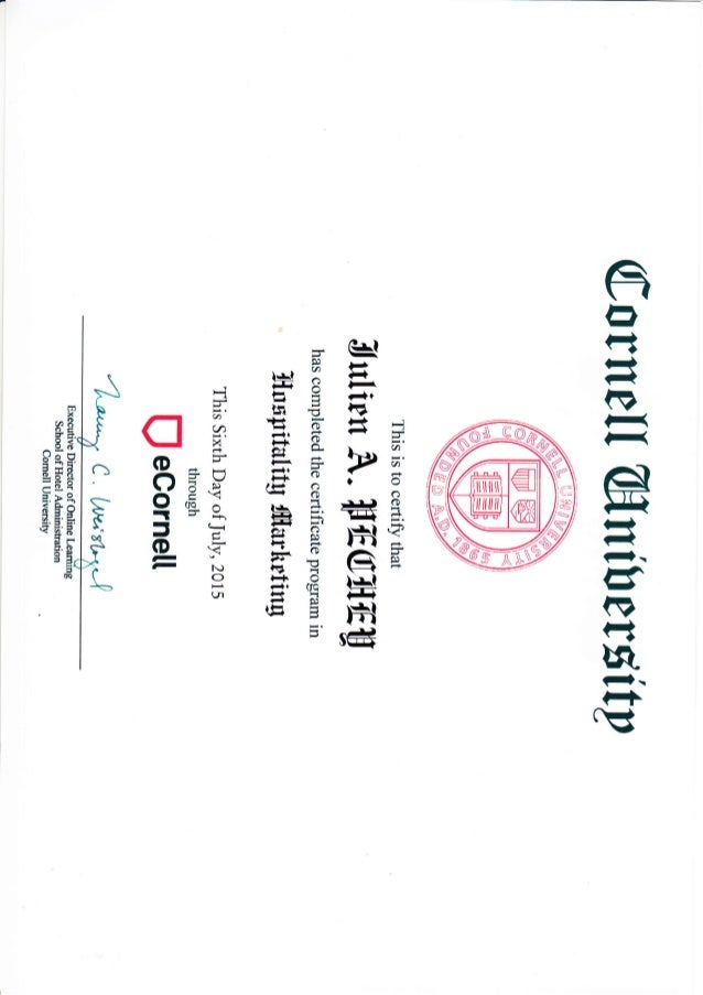 Hospitality marketing Ecornell certificate