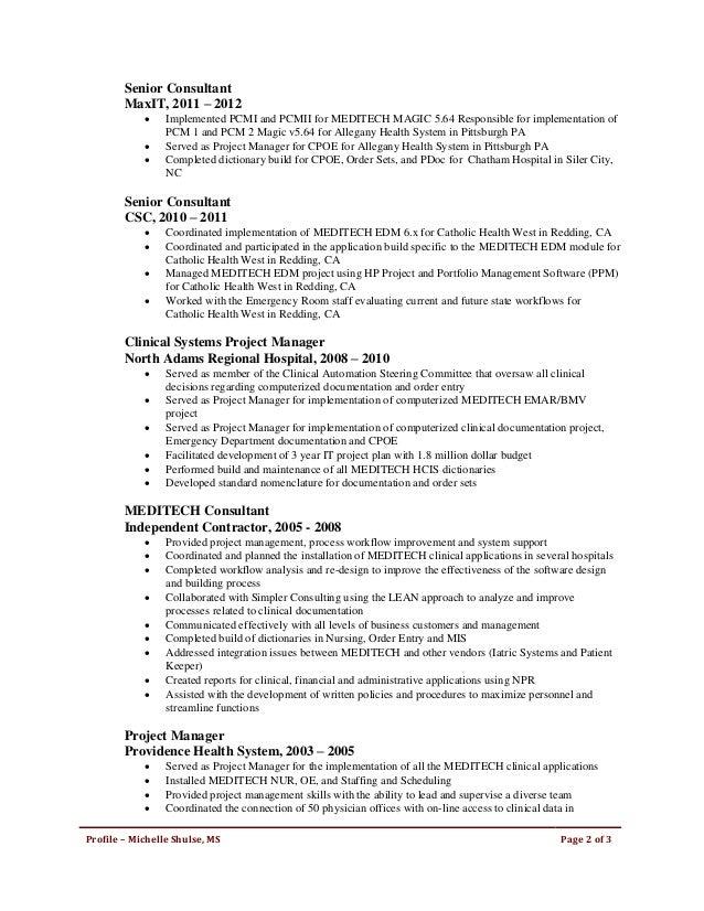 Michelle Shulse Resume82516 – Meditech Consultant