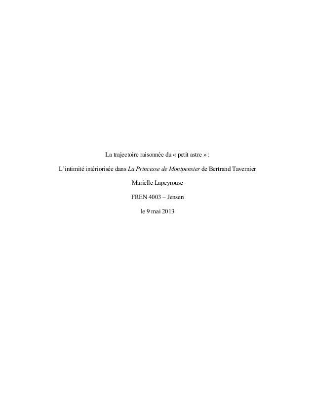 La trajectoire raisonnée du « petit astre » : L'intimité intériorisée dans La Princesse de Montpensier de Bertrand Tav...
