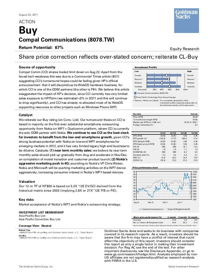 August 22, 2011ACTIONBuyCompal Communications (8078.TW)Return Potential: 67%                                              ...
