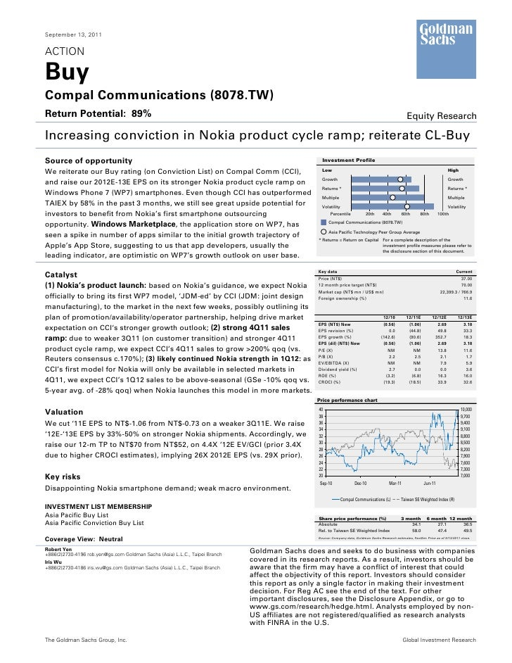 September 13, 2011ACTIONBuyCompal Communications (8078.TW)Return Potential: 89%                                           ...