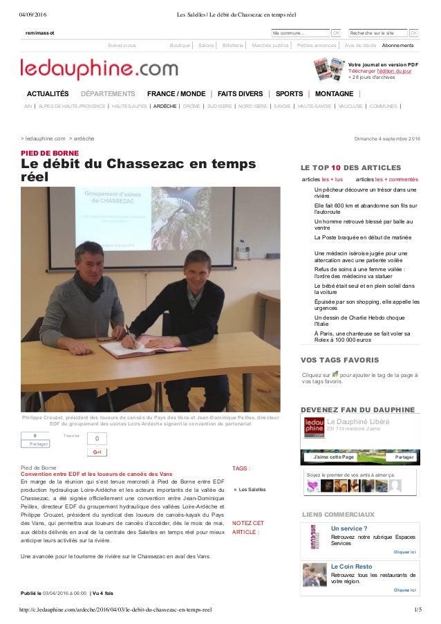 04/09/2016 Les Salelles | Le débit du Chassezac en temps réel http://c.ledauphine.com/ardeche/2016/04/03/le-debit-du-chass...