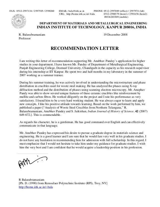 phd supervisor recommendation letter