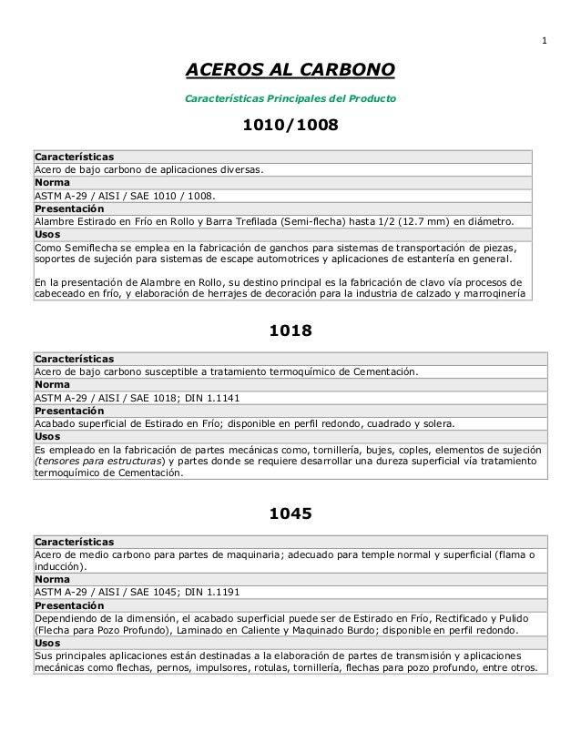 1                               ACEROS AL CARBONO                               Características Principales del Producto  ...