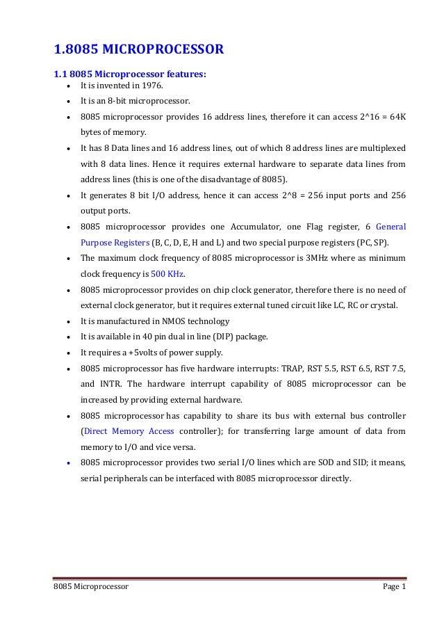 8085 microprocessor architecture and pin description for Architecture 8085 microprocessor
